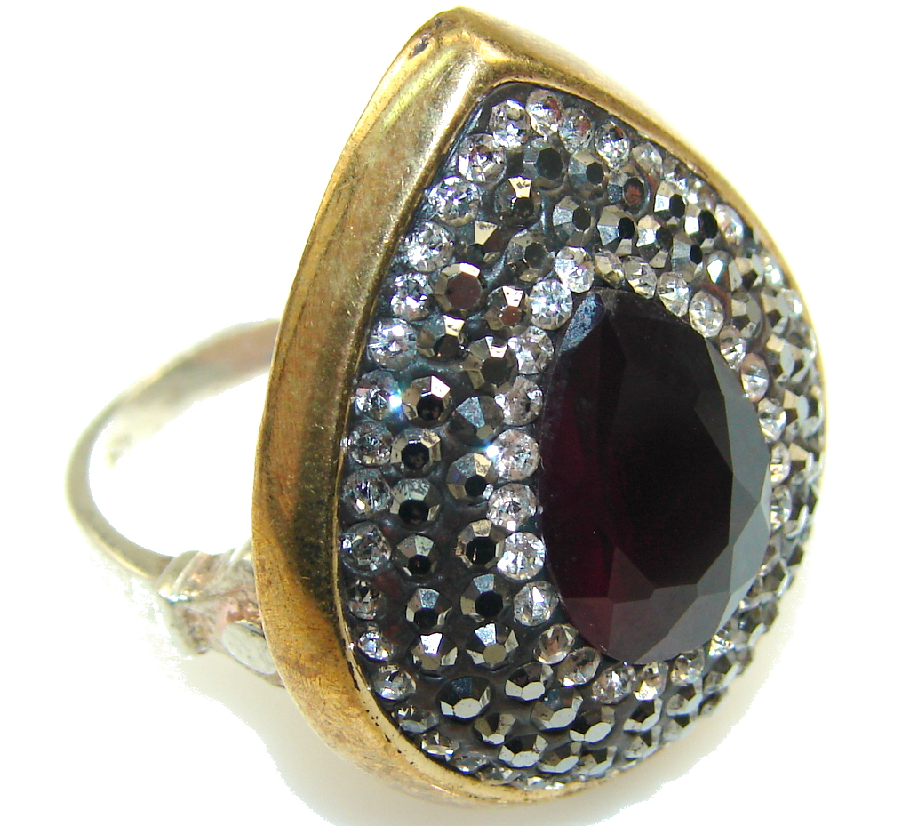 Turkish Style! Deep Red Ruby Sterling Silver ring s. 8 1/4