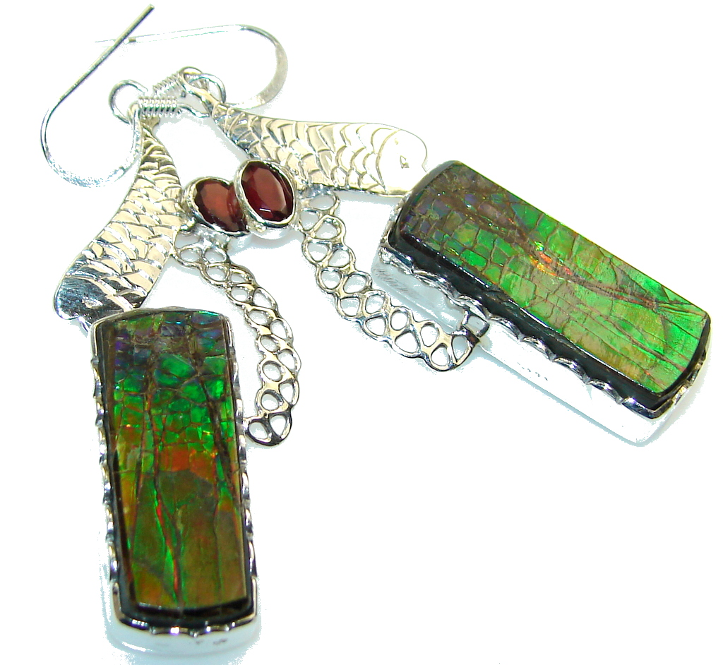 Amazing Design! Ammolite Sterling Silver earrings