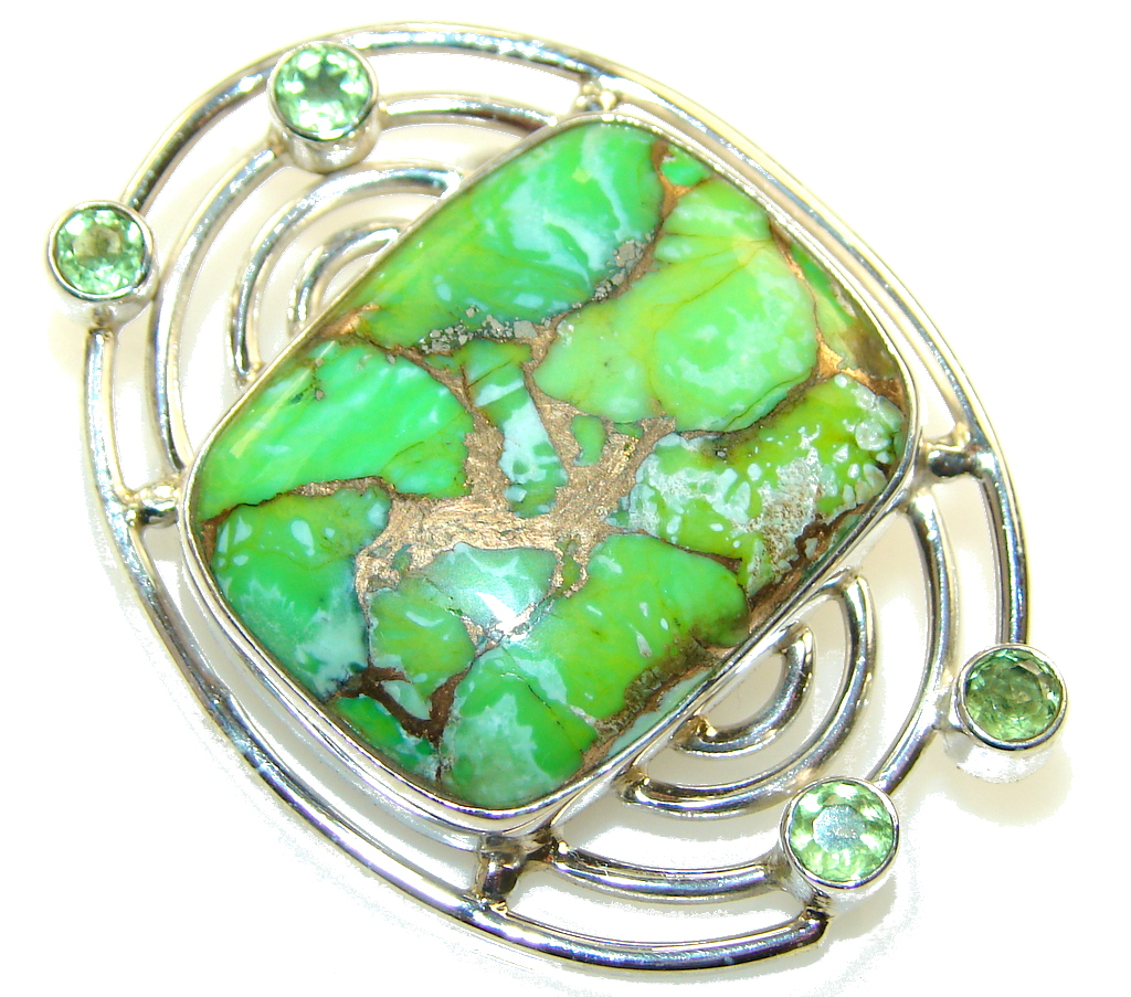 New Design!! Green Copper Turquoise Sterling Silver Pendant