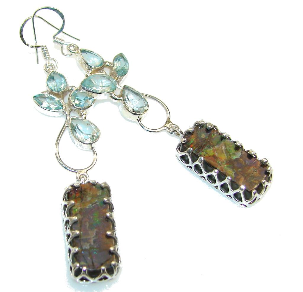 Stylish Design!! Ammolite Sterling Silver earrings /