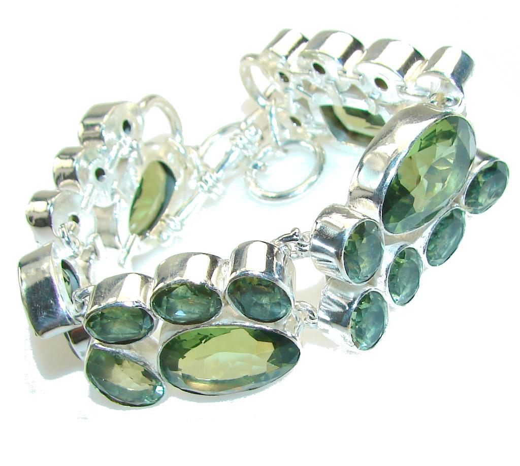 Spring Garland!! Green Amethyst Sterling Silver Bracelet
