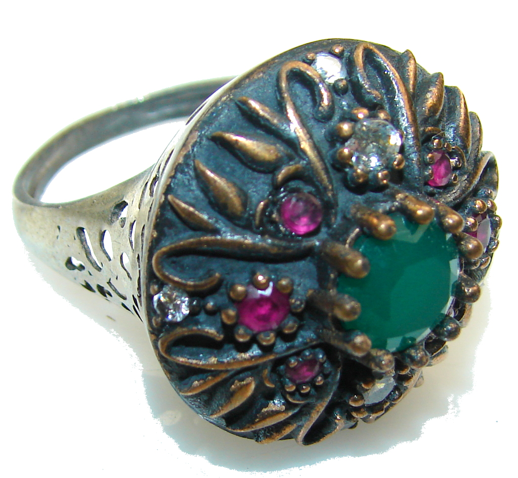 Vintage Style!! Green Emerald Sterling Silver ring s. 8 1/4