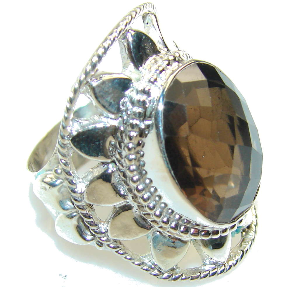 Beautiful Brown Smoky Topaz Sterling Silver ring; s. 10