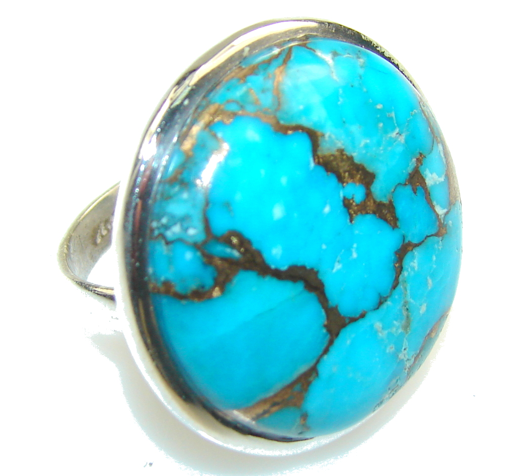 Blue Copper Turquoise Sterling Silver Ring s. 7 1/4