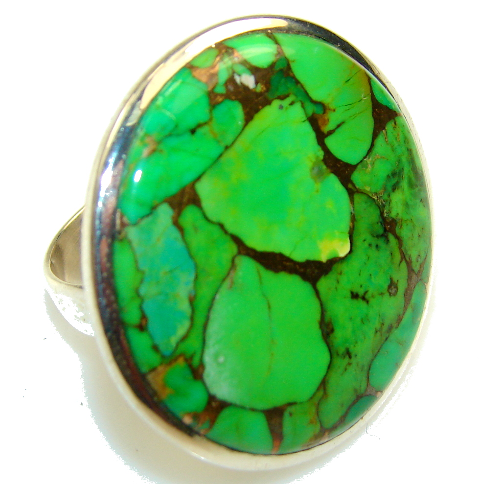 Fresh Green Turquoise Sterling Silver Ring s. 10 3/4
