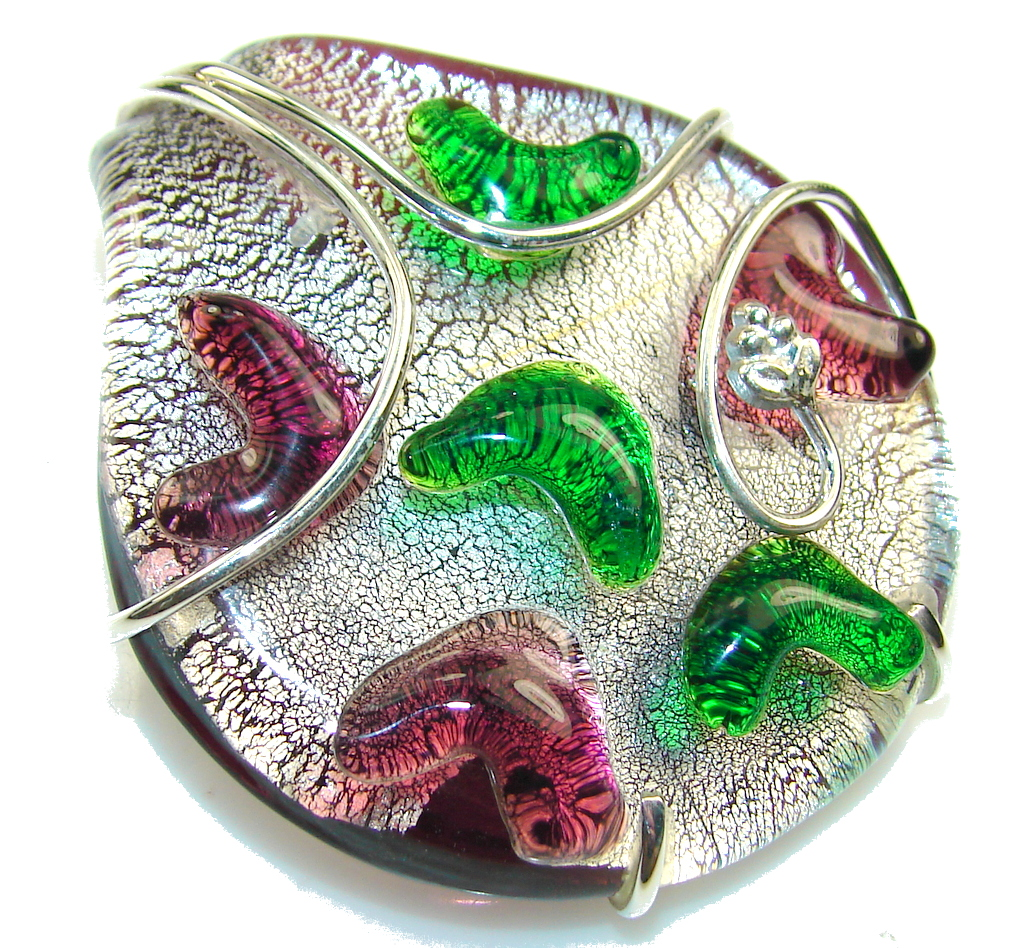 New Amazing Design!! Dichroic Glass Sterling Silver pendant