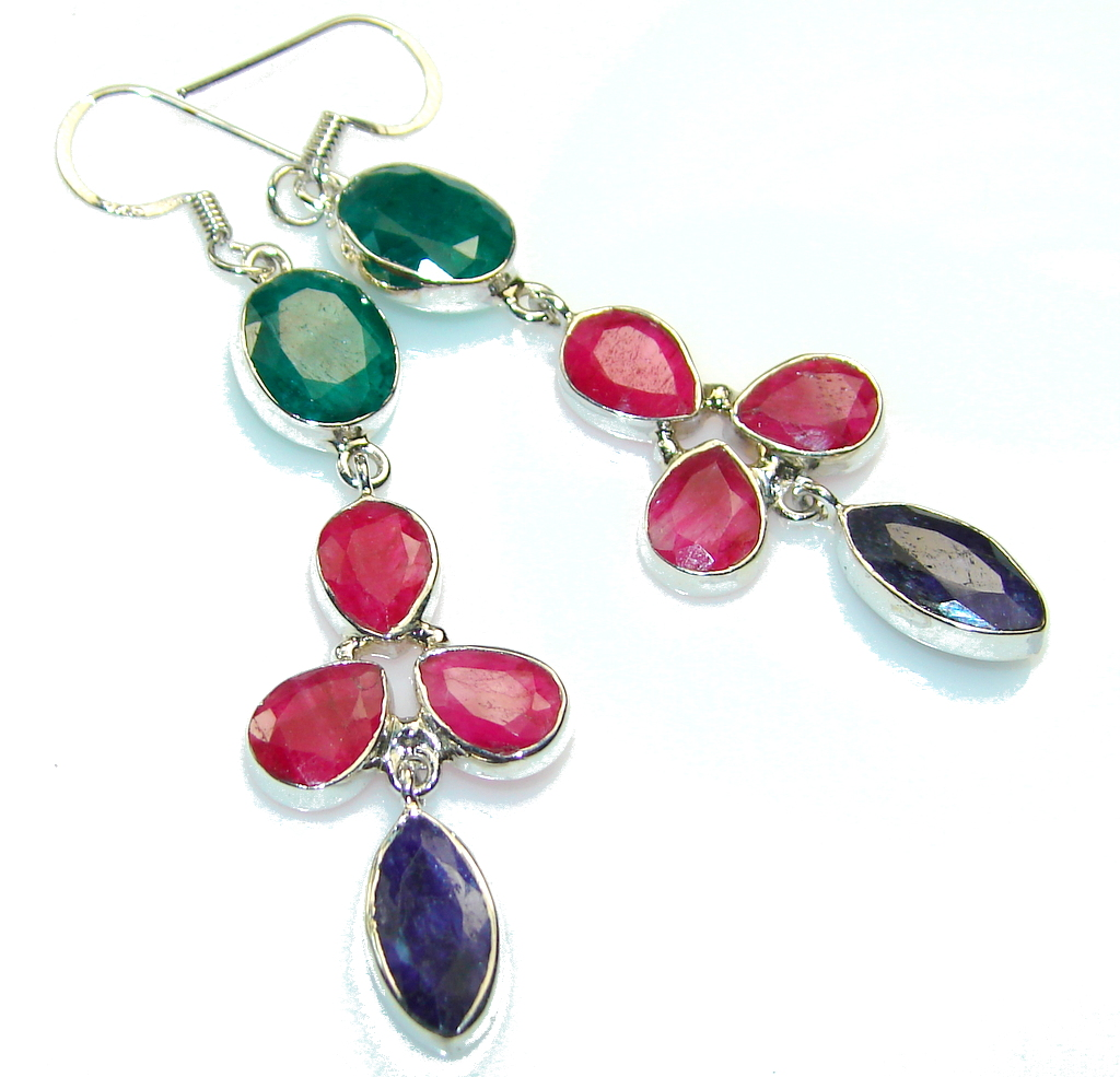 Let's Dance!! Pink Ruby Sterling Silver earrings