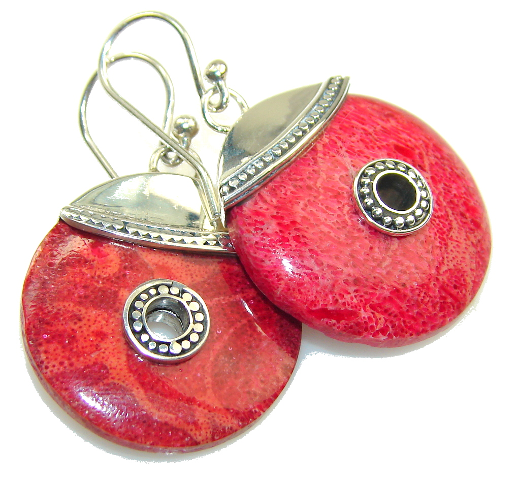 New DEsign!! Red Fossilized Coral Sterling Silver earrings