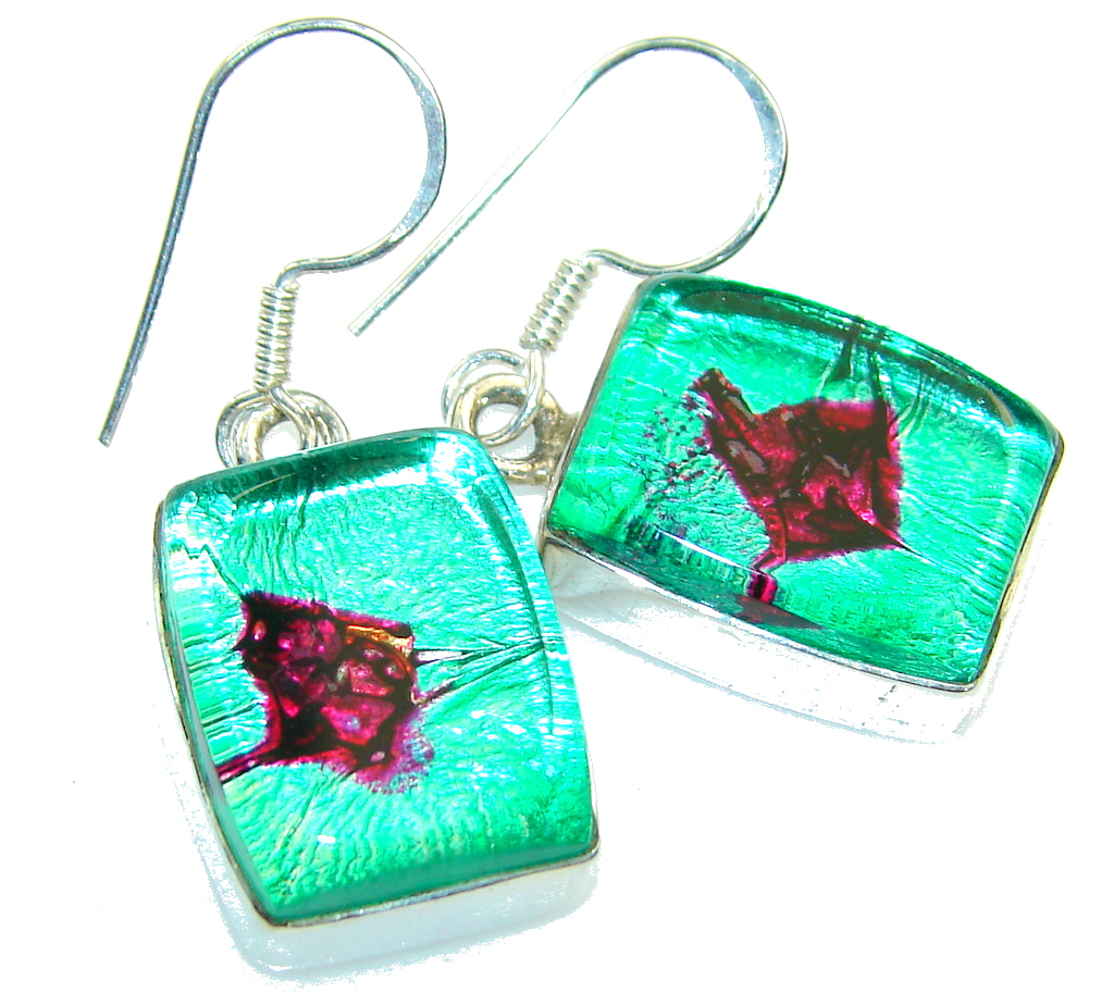 Fantastic Green Dichroic Glass Sterling Silver earrings