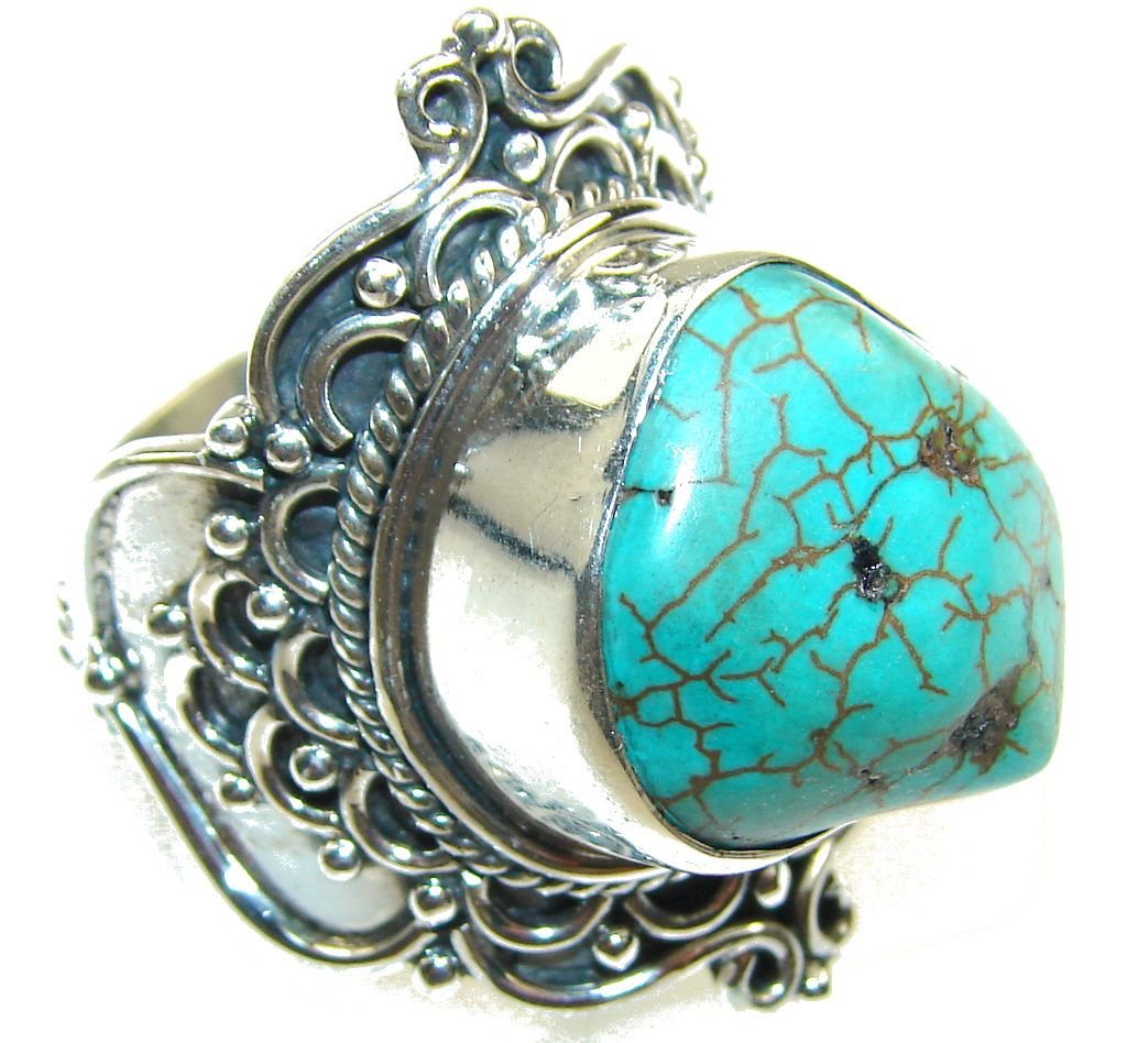 Big!! Classy Blue Turquoise Sterling Silver Ring s. 11