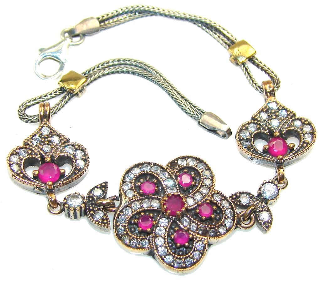 Precious Design!! Pink Ruby Sterling Silver Bracelet