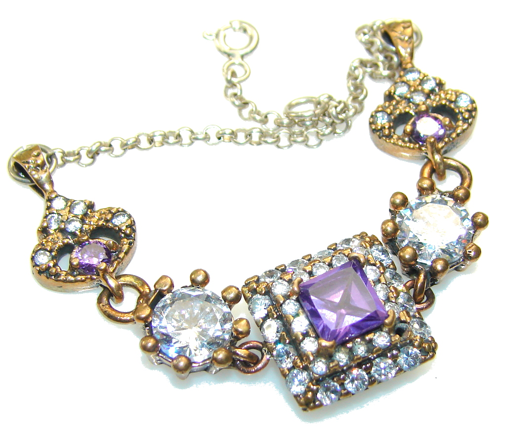Royal Design!!! Alexandrite Quartz Sterling Silver Bracelet