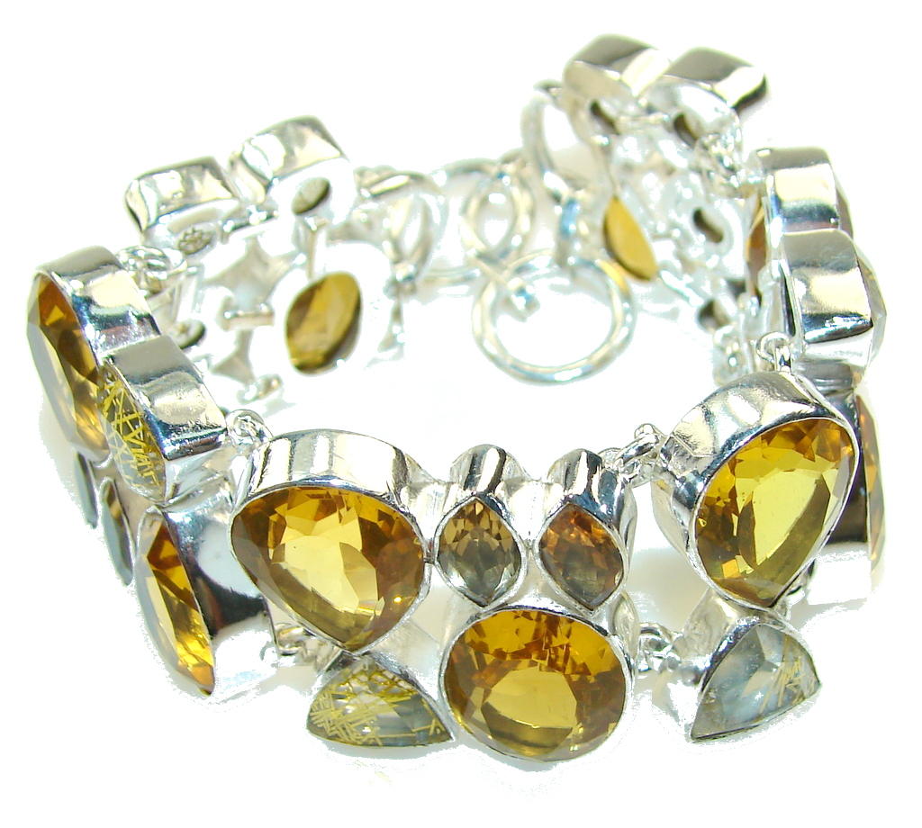 Summer Style!! Created Yellow Citrine Sterling Silver Bracelet