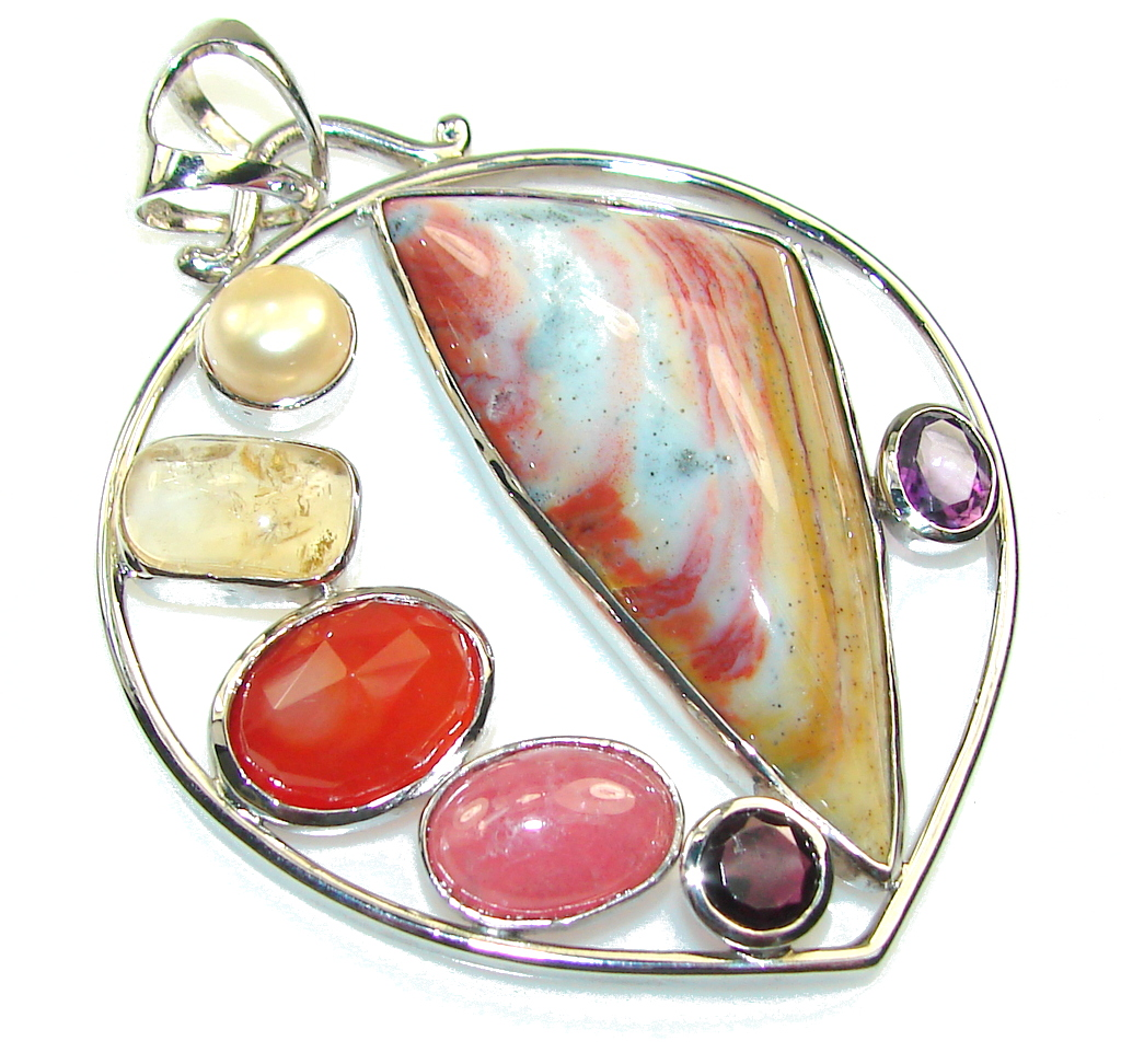 Big Fabulous Design Of Imperial Agate Sterling Silver Pendant