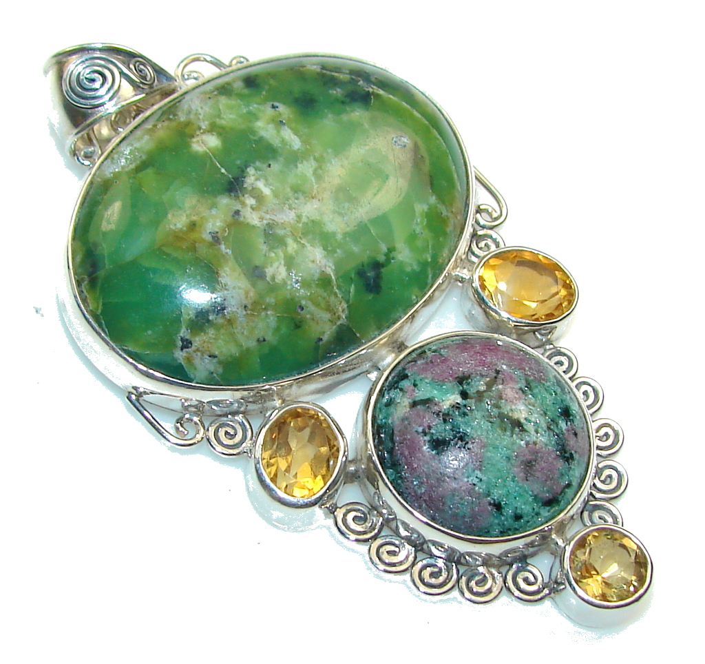 Awesome Style!! Ruby in Zoisite Sterling Silver Pendant