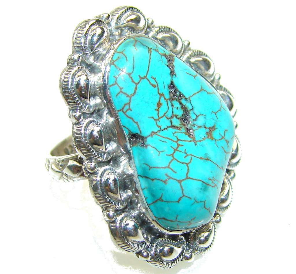 Classy Blue Turquoise Sterling Silver Ring s. 7 1/4