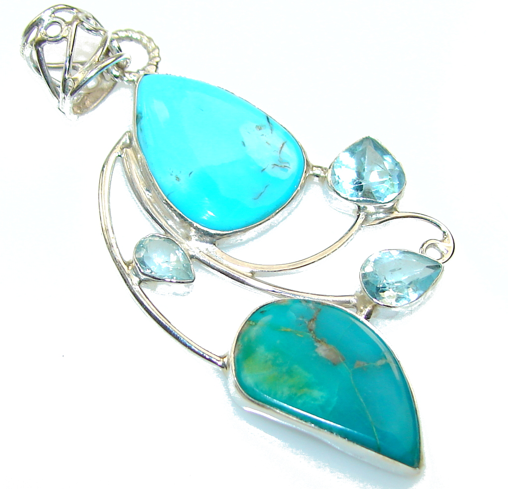 Beautiful Design! Turquoise Sterling Silver Pendant