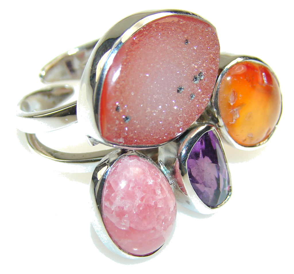 Aura Of Beauty Agate Druzy Sterling Silver Ring s. 8 - Adjustable