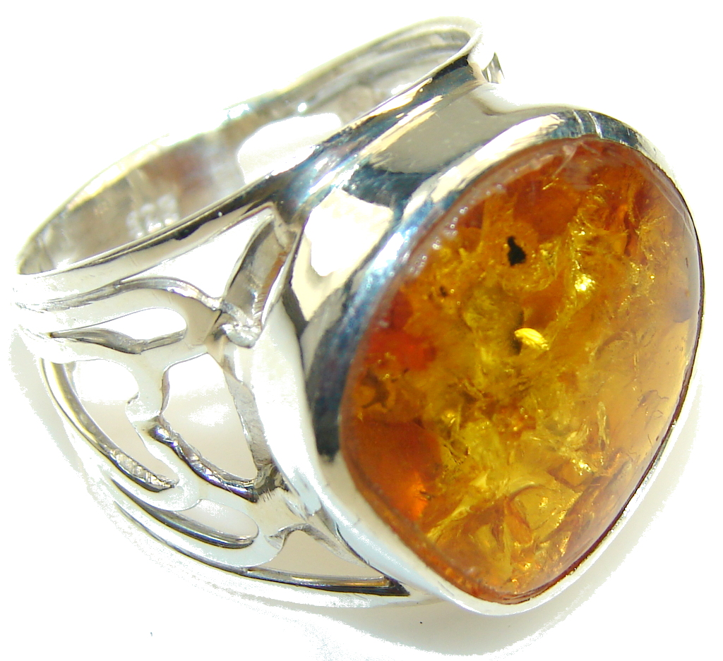 Fabulous Brown Amber Sterling Silver Ring s. 11