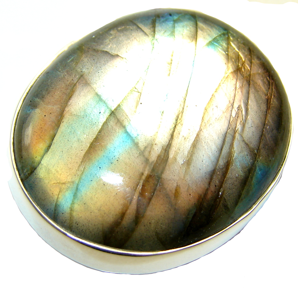 Big!! Natural Labradorite Sterling Silver ring s. 6 1/4