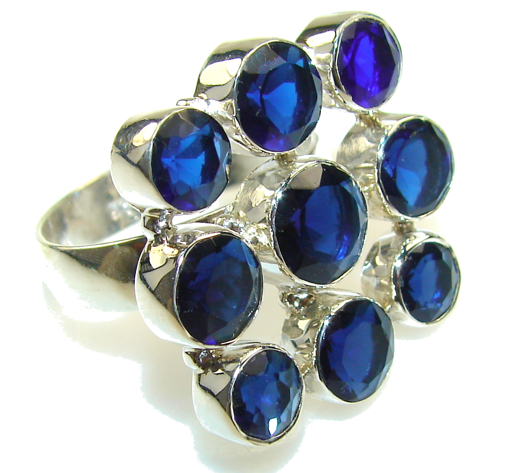 Awesome Created Deep Blue Tanzanite Quartz Sterling Silver Ring s. 11