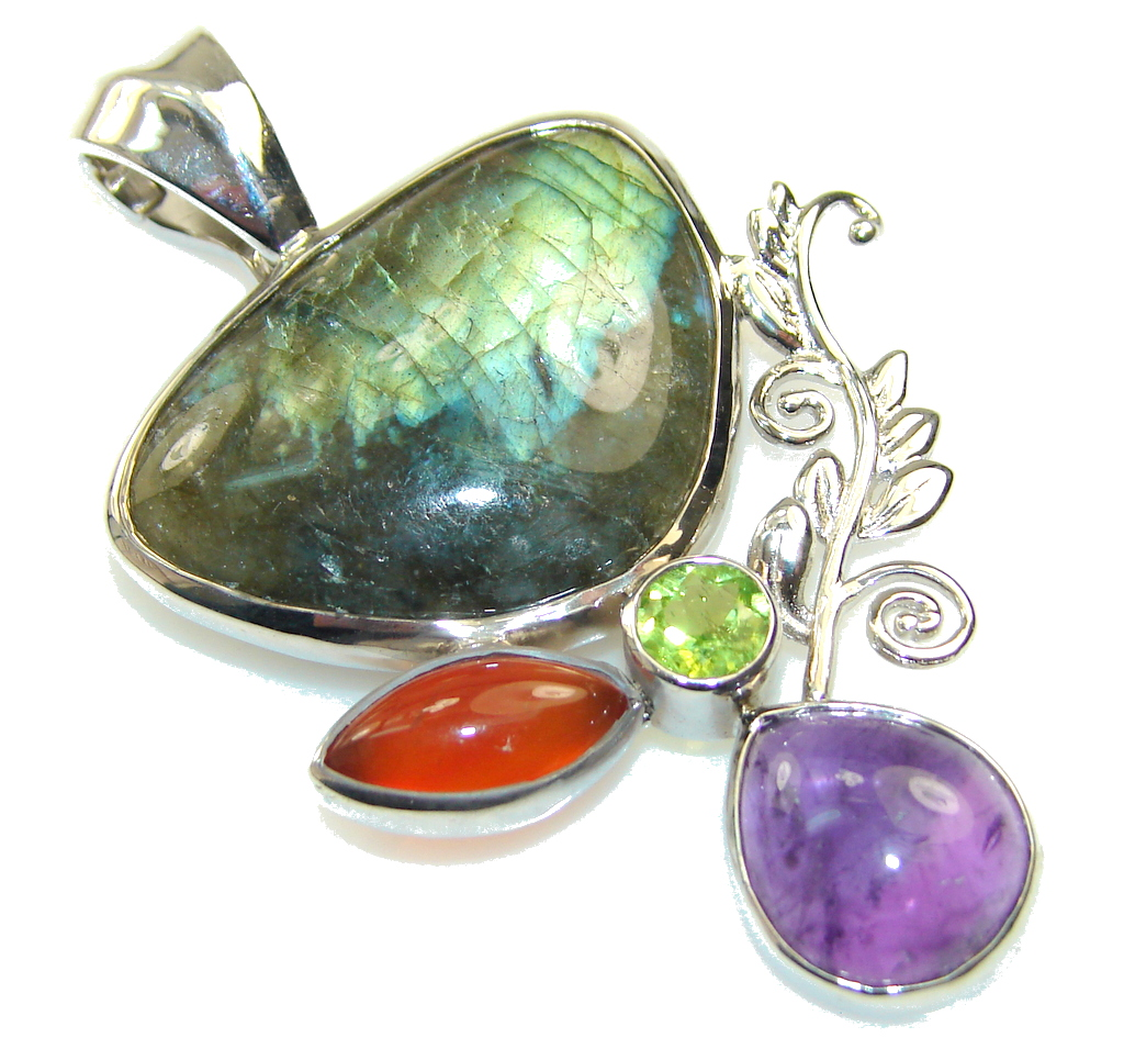 Natural Beauty! Fire Labradorite Sterling Silver Pendant