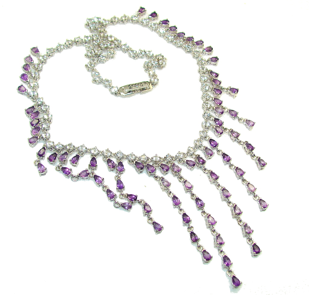 Gorgeous Design! Natural Amethyst Topaz Sterling Silver Necklace