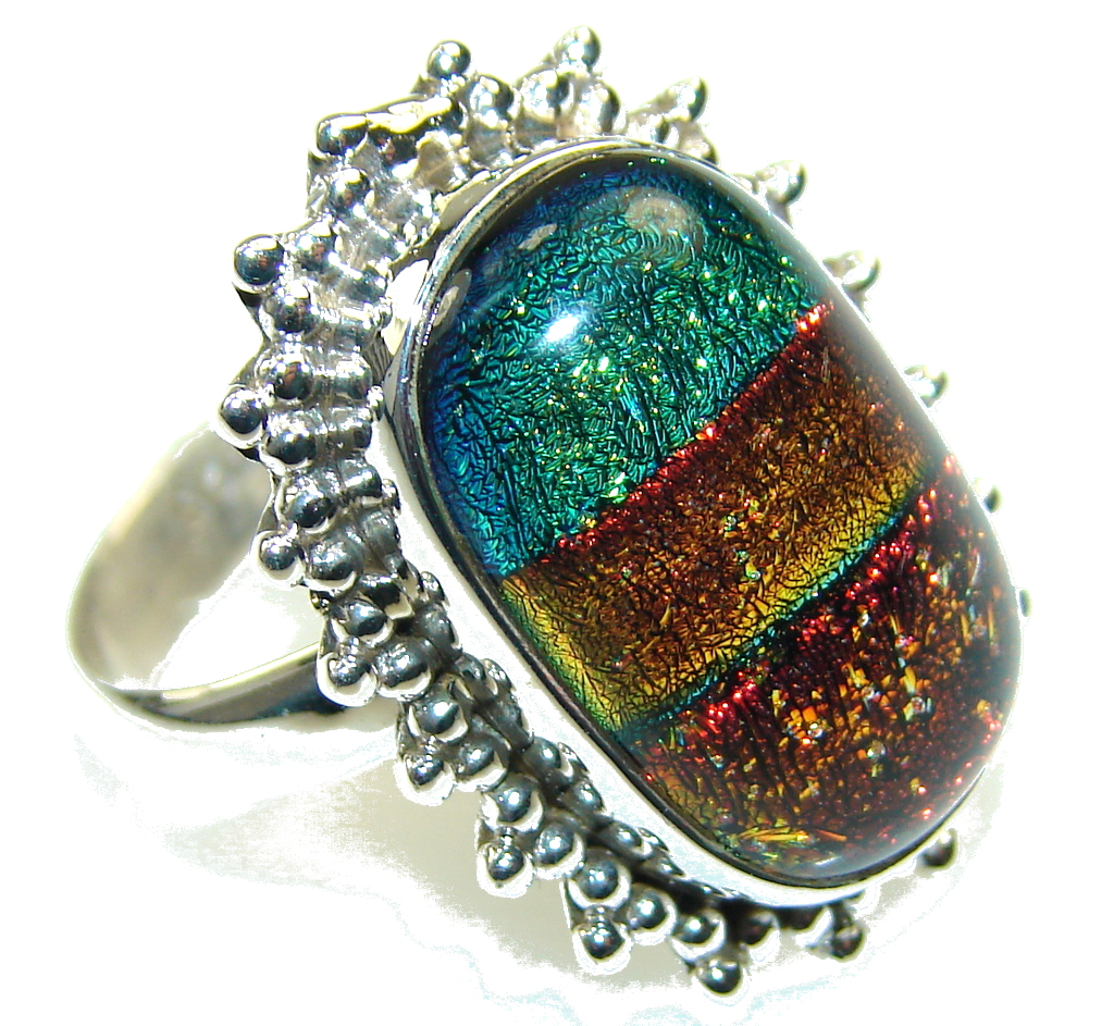 Rainbow Color!!! Dichroic Glass Sterling Silver ring s. 8
