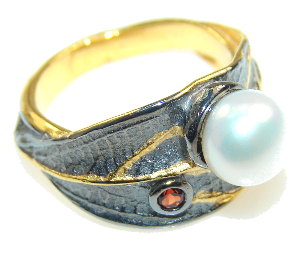 jewelpearl.com view the photo of  Delicate Italy Made, Rhodium Plated, 18ct Gold Plated Fresh Water Pearl Sterling Silver ring; 6