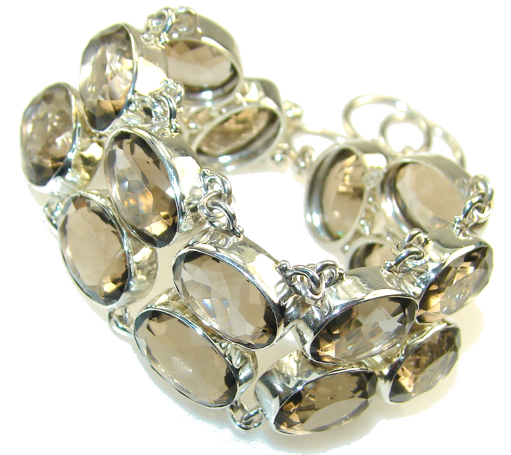 Natural Beautiful Smoky Topaz Sterling Silver Bracelet