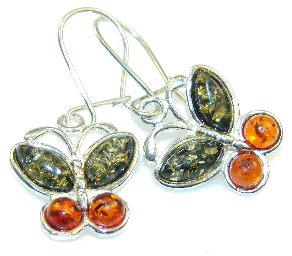 Secret Brown Polish Amber Sterling Silver earrings