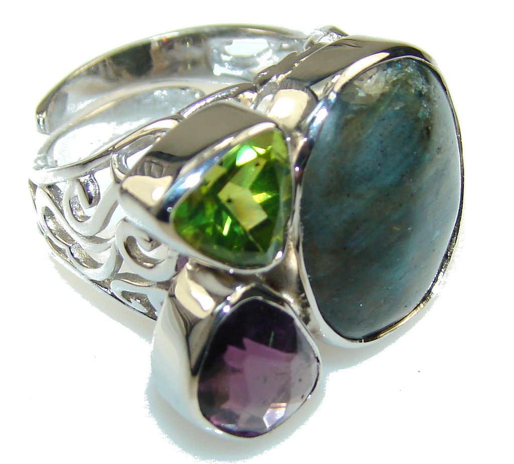 Excellent Fire Labradorite Sterling Silver ring s. 8 - Adjustable