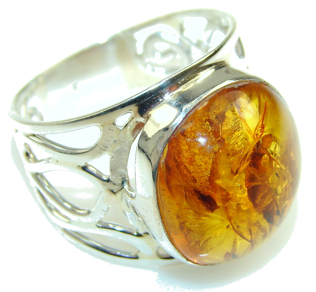 Big! Polish Brown Amber Sterling Silver Ring s. 11