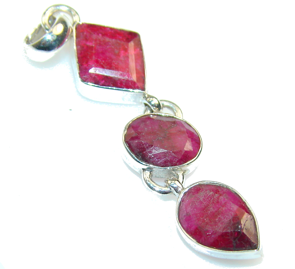 Indian Pink Ruby Sterling Silver Pendant