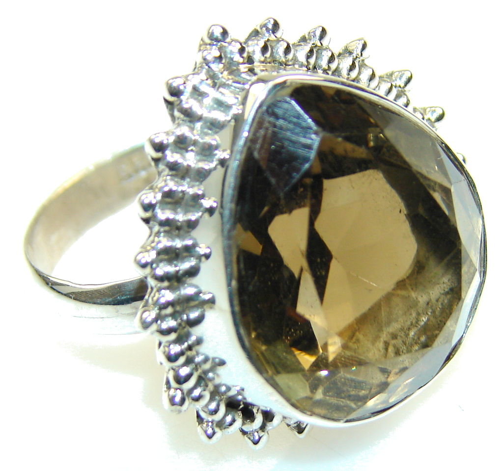 Amazing Brown Smoky Topaz Sterling Silver ring; s. 9 1/2