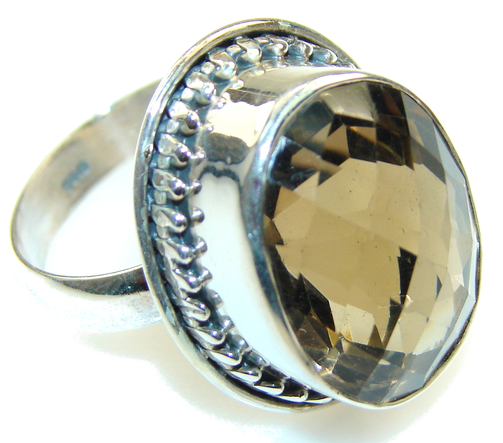 Amazing Brown Smoky Topaz Sterling Silver ring; s. 11