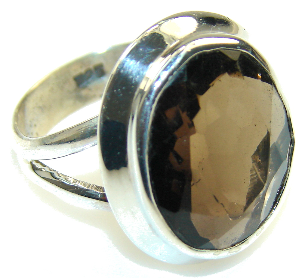 Amazing Brown Smoky Topaz Sterling Silver ring; s. 9