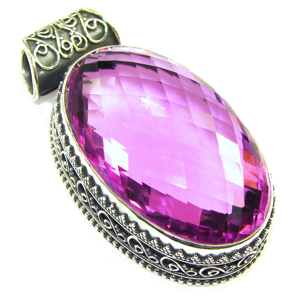 Large! Created  Pink Sapphire Stering Silver Pendant