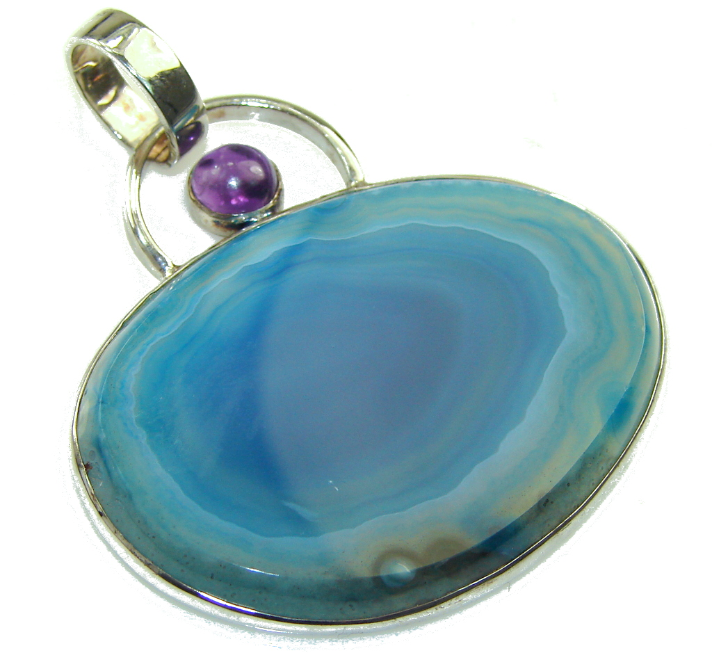 Classic Design! Botswana Agate Sterling Silver Pendant