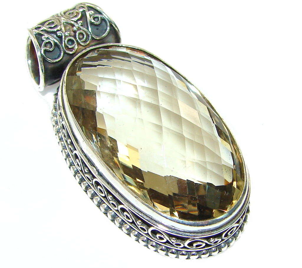 Antique Lab. Champagne Topaz Sterling Silver Pendant