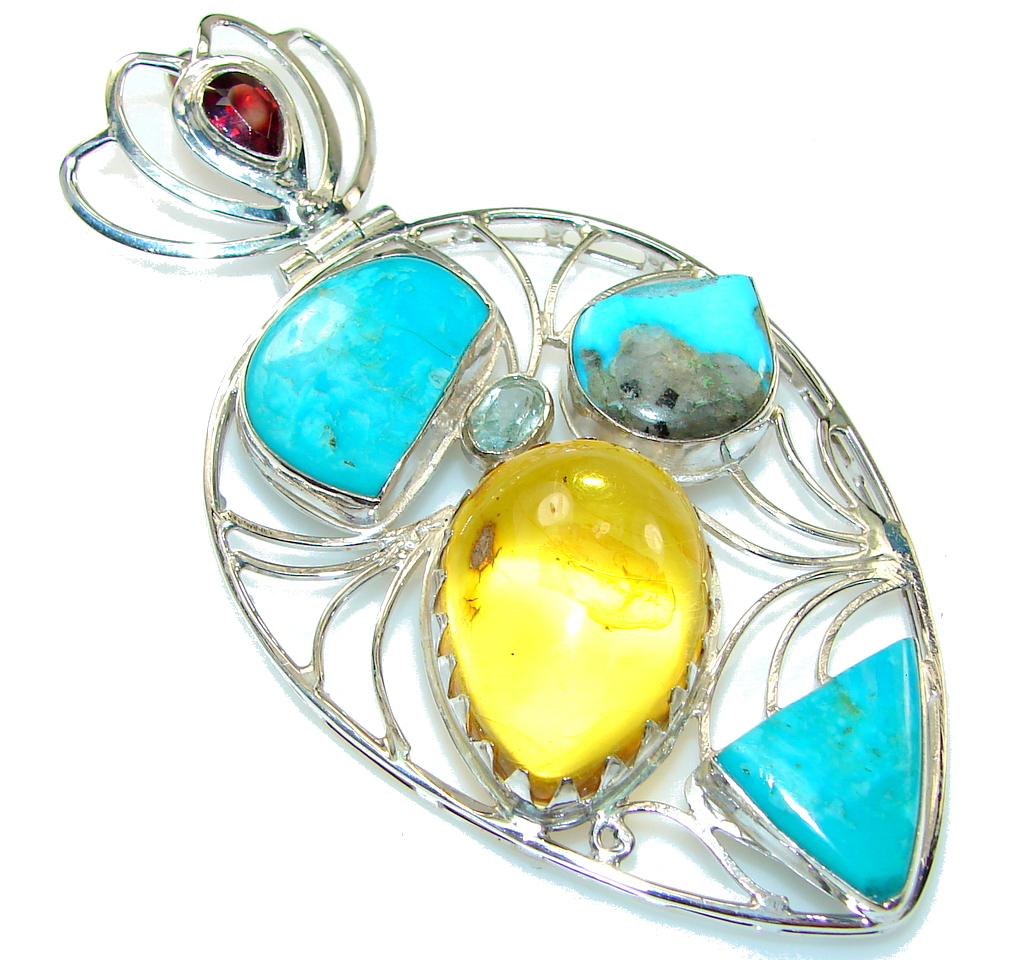 Large! Polish Amber & Turquoise Sterling Silver Pendant