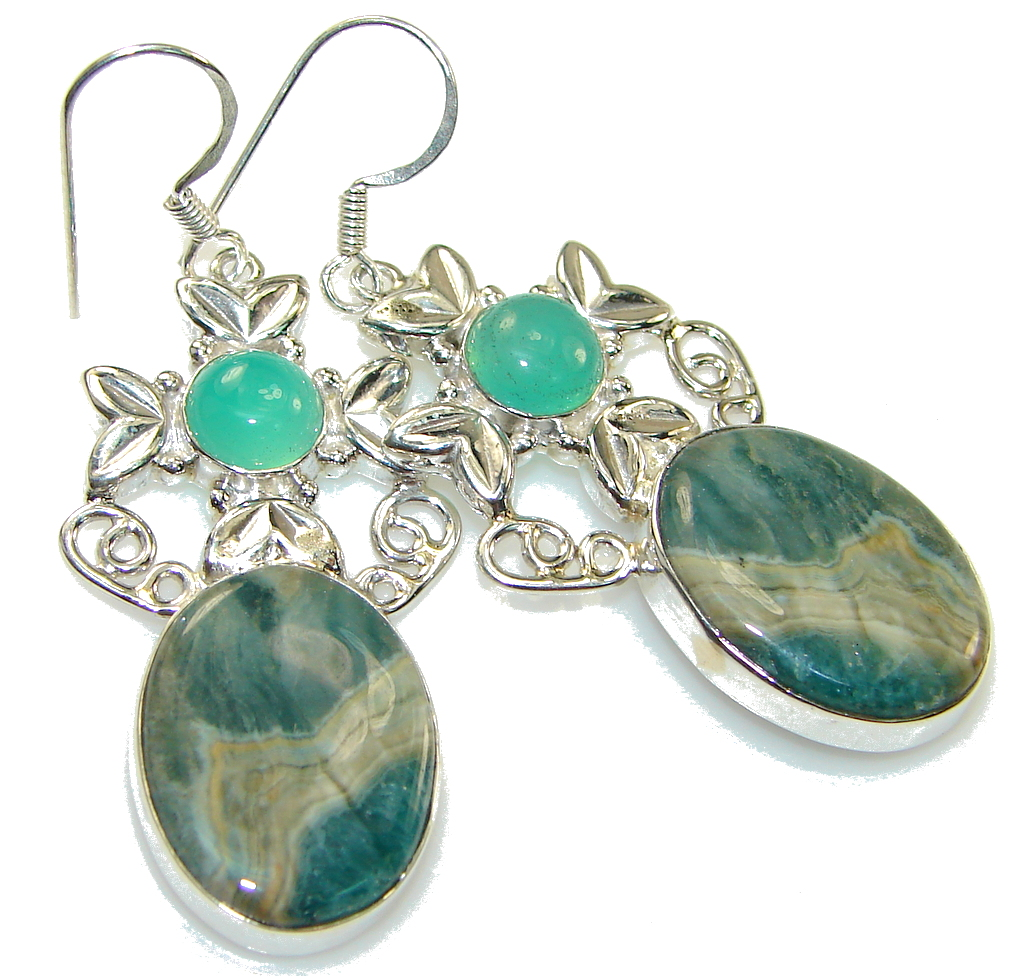 Amazing Style! Ocean Jasper Sterling Silver earrings