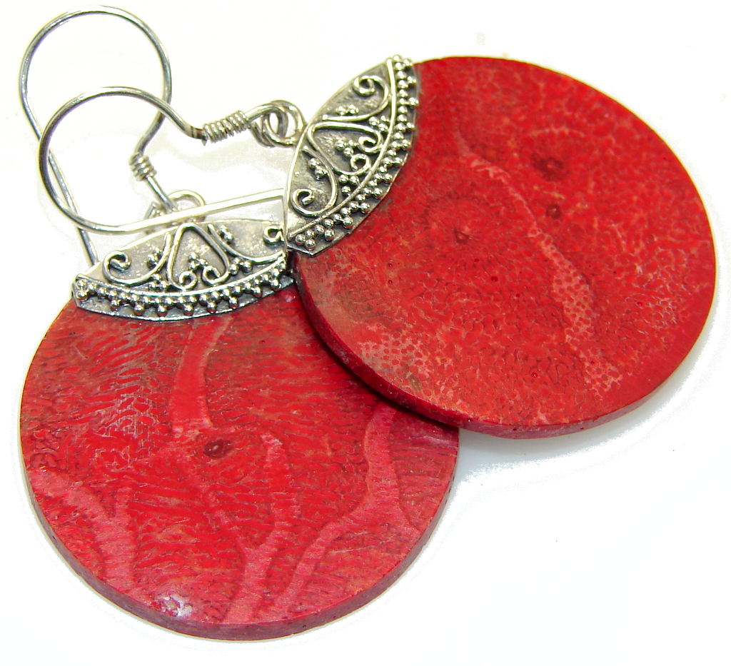 Store Of Love! Fossilized Coral Sterling Silver earrings