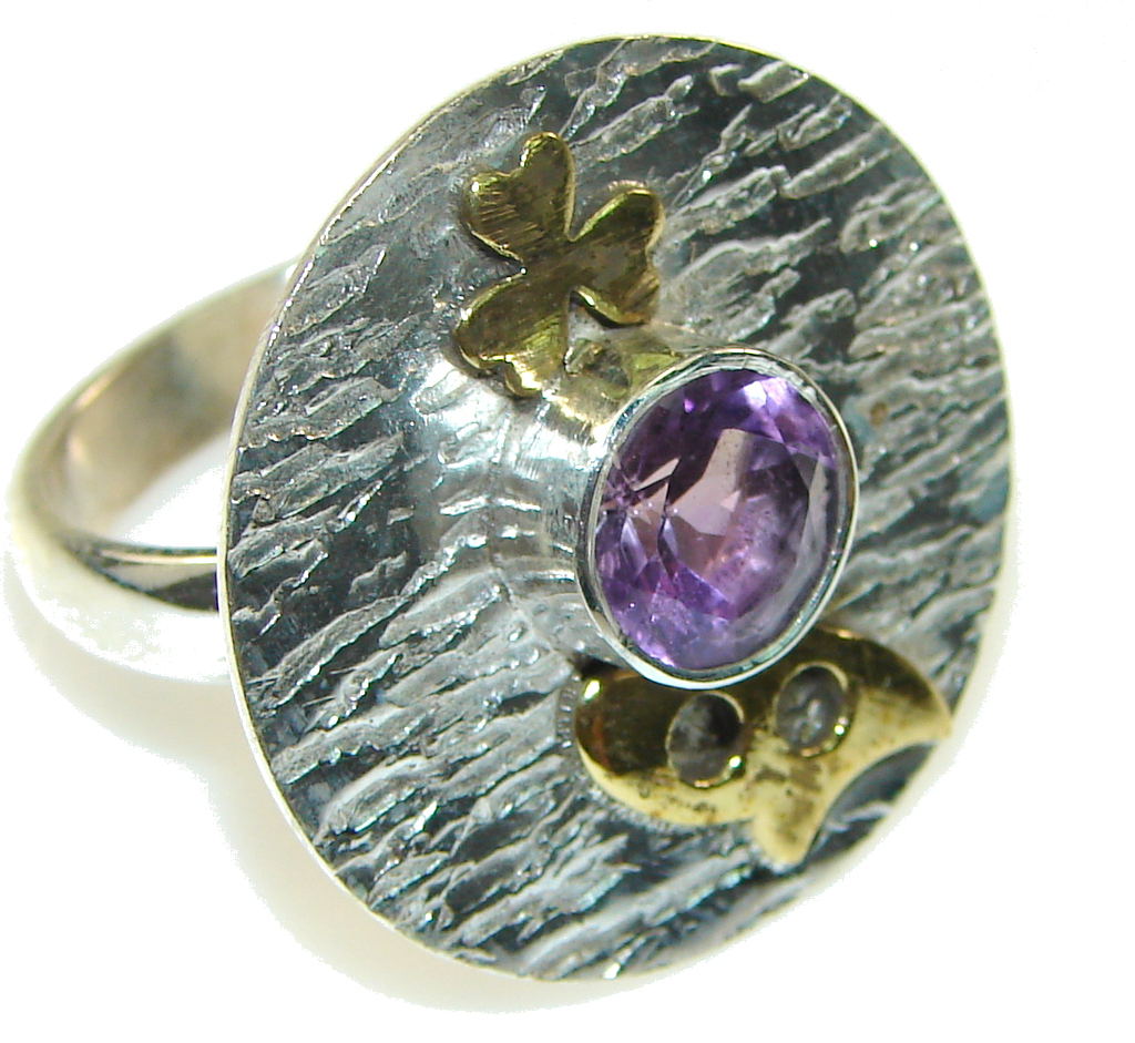marcassite.com view the photo of  New! Two Tones Faceted Amethyst Sterling Silver Ring s. 8 3/4