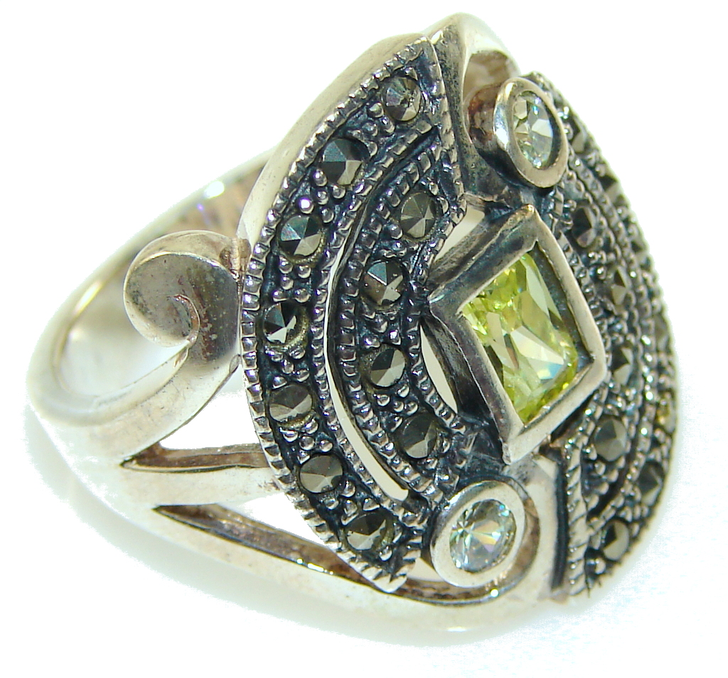 marcassite.com the marcasite jewelry place    New! Faceted Green Peridot Quartz Sterling Silver Ring s. 8