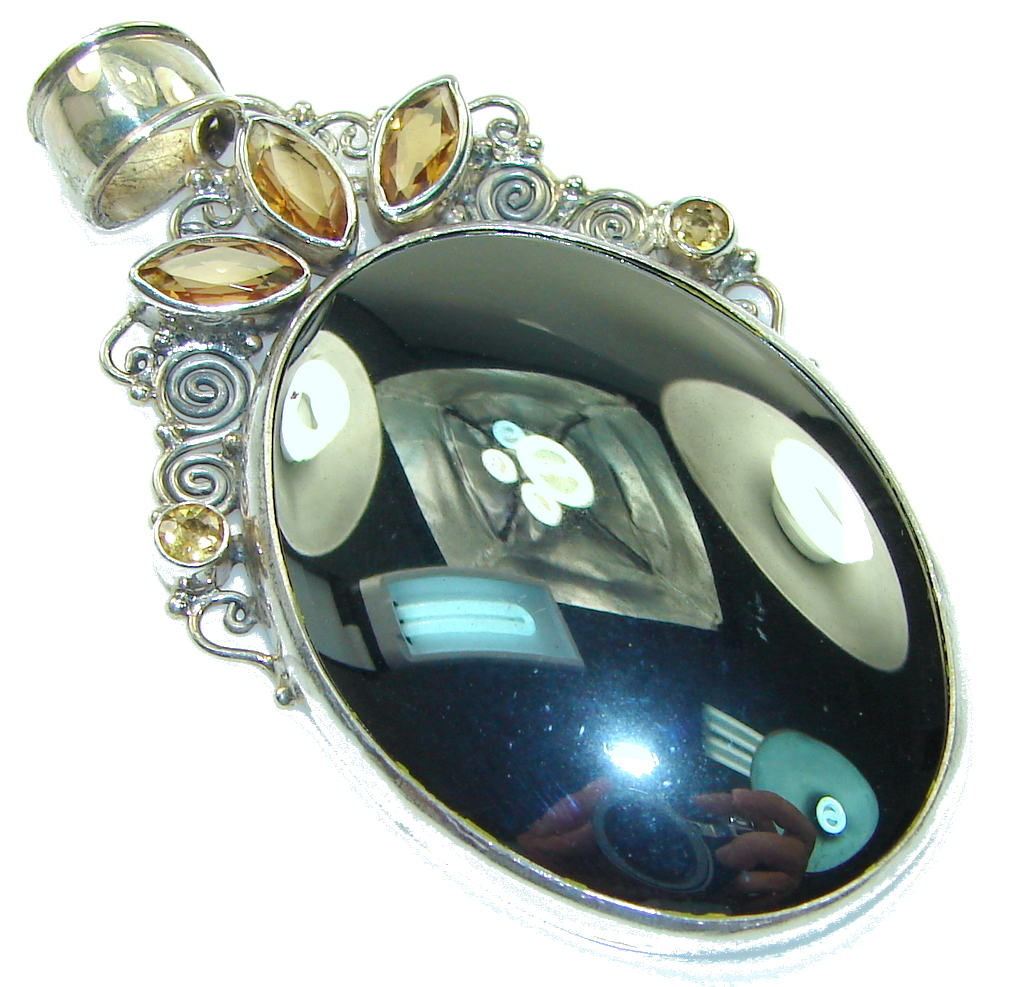Stylish Design! Hematite Sterling Silver Pendant