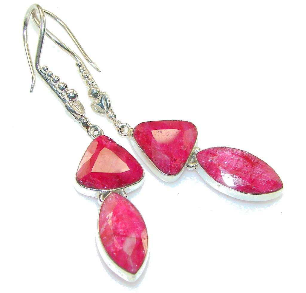 Big! True LOve!! Red Ruby Sterling Silver earrings