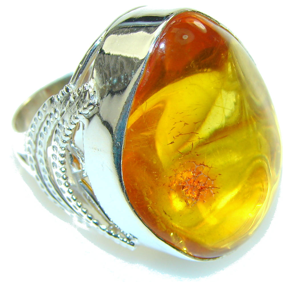 Big! Polish Brown Amber Sterling Silver Ring s. 8