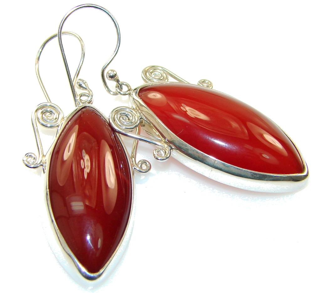 Excellent Orange Carnelian Sterling Silver earrings