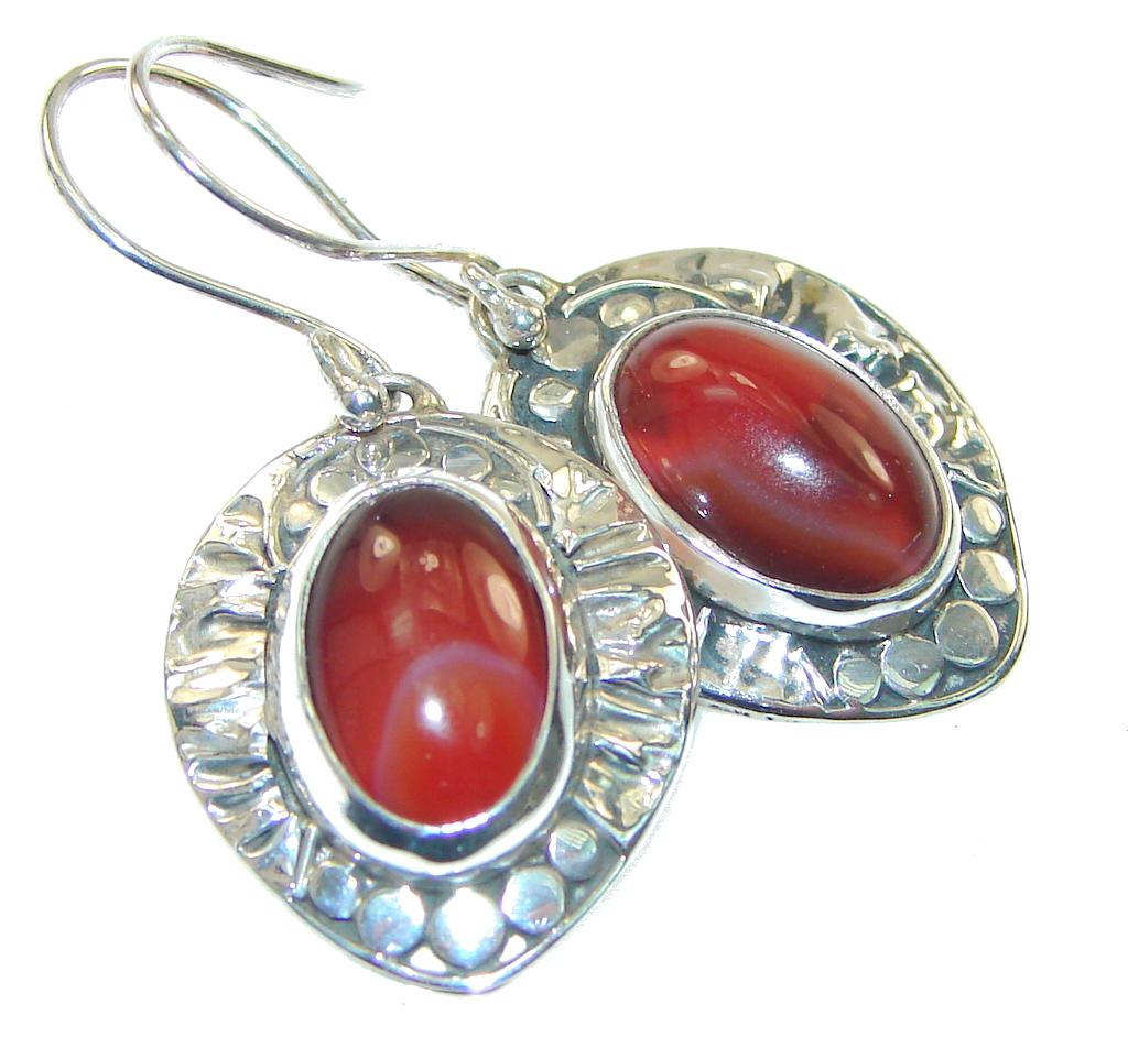 Natural Beauty!! Carnelian Sterling Silver earrings
